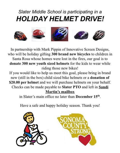 WE NEED YOUR HELP FOR OUR HELMET DRIVE!